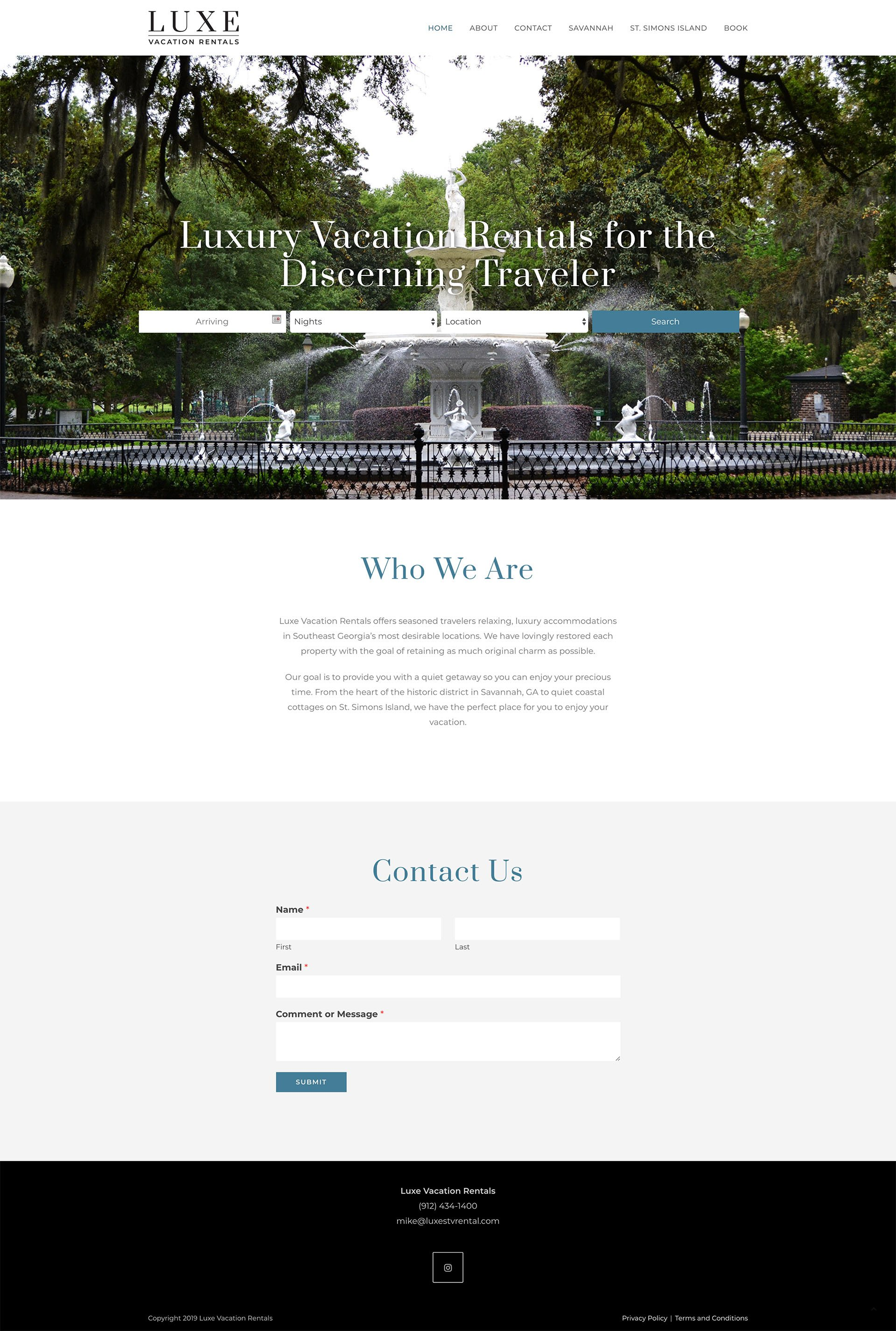 Luxe Vacation Rentals website design - Lauren Dingus Creative - Savannah, GA