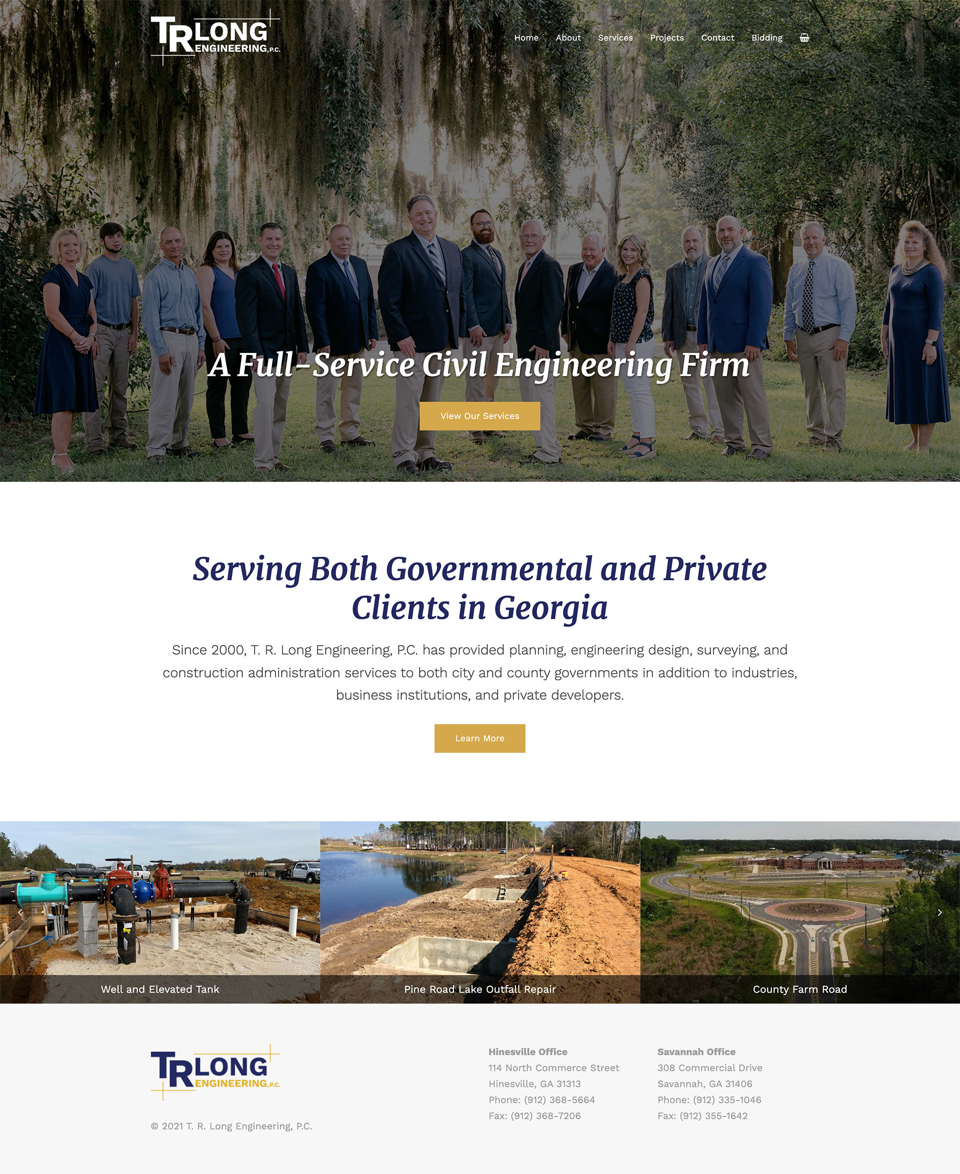 T. R. Long Engineering, P.C. Website Design - Lauren Dingus Creative